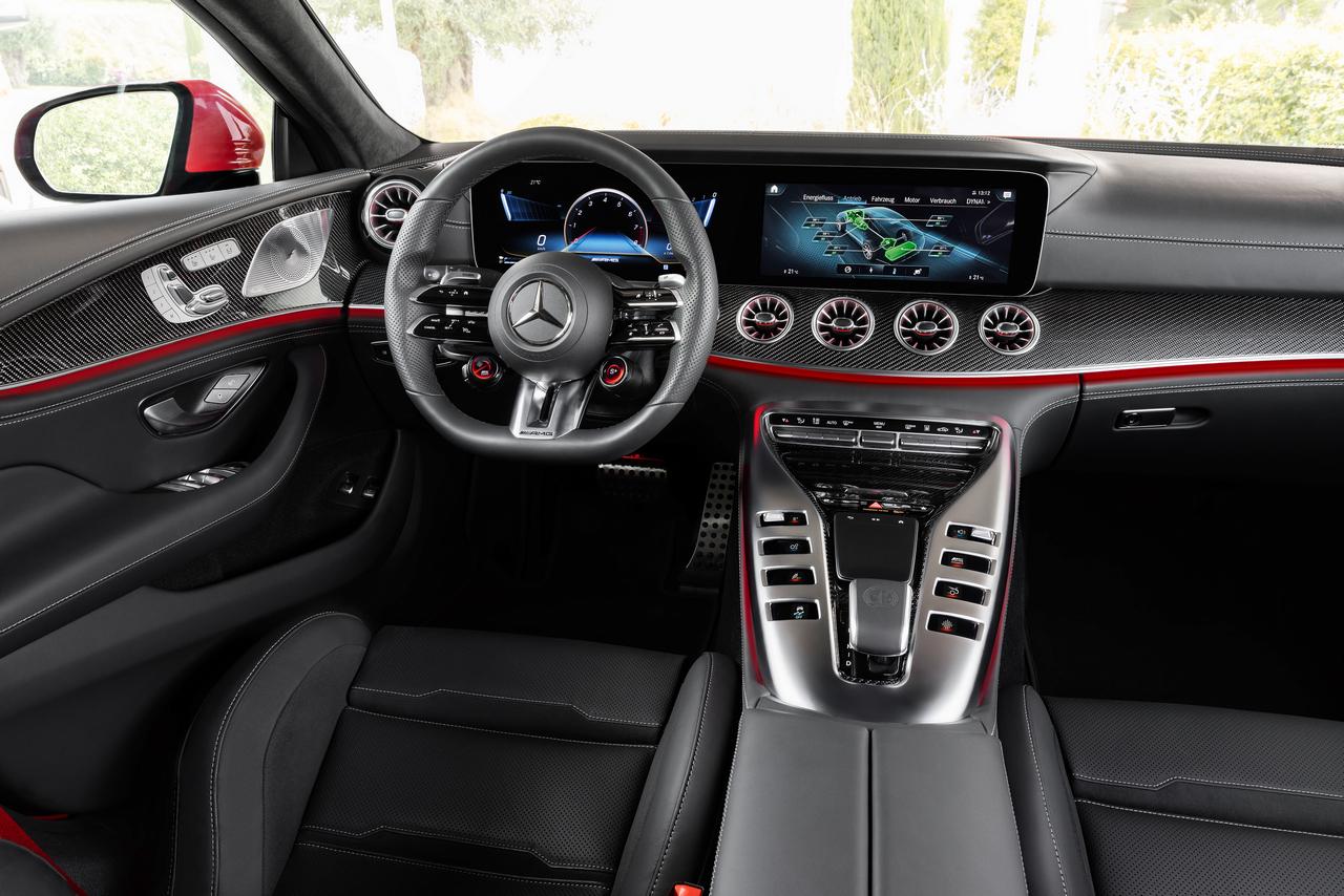 """Mercedes-AMG GT 63 S E PERFORMANCE (4MATIC+) (Kraftstoffverbrauch gewichtet, kombiniert (WLTP): 8,6 l/100 km; CO2-Emissionen gewichtet, kombiniert: 196 g/km; Stromverbrauch gewichtet: 10,3 kWh/100 km); Exterieur: jupiterrot, AMG Carbon-Paket Exterieur, 53,3 cm (21"""") AMG Schmiederäder im 5-Doppelspeichen-Design, AMG Keramik Hochleistungs-Verbundbremsanlage; Interieur: Leder Exklusiv Nappa schwarz, Performance Lenkrad in Leder Nappa mit Lenkradtasten, AMG Performance Sitze, AMG Zierlemente Carbon;Kraftstoffverbrauch gewichtet, kombiniert (WLTP): 8,6 l/100 km; CO2-Emissionen gewichtet, kombiniert: 196 g/km; Stromverbrauch gewichtet: 10,3 kWh/100 km*<br /> Mercedes-AMG GT 63 S E PERFORMANCE (4MATIC+) (weighted, combined fuel consumption (WLTP): 8.6 l/100 km; weighted, combined CO2 emissions: 196 g/km; weighted electrical consumption: 10.3 kWh/100 km); exterior: jupiter red, AMG Exterior Carbon package, 53.3 cm (21-inch) AMG 5-twin-spoke forged wheels, AMG high-performance ceramic composite braking system; interior: exclusive leather nappa black , steering wheel in nappa leather black with steering wheel buttons, AMG performance seats, AMG carbon-fibre trim;Weighted, combined fuel consumption (WLTP): 8.6 l/100 km; weighted, combined CO2 emissions: 196 g/km; weighted electrical consumption: 10.3 kWh/100 km*"""